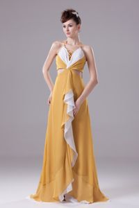 Yellow Halter Long Graduation Ceremony Dresses with Cutout and Ruffles