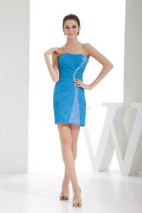 Teal Ruche Strapless Mini-length Evening Dress for Graduation with Beading