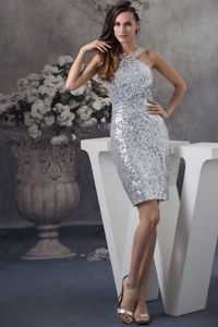 Unique Silver Sequin Mini-length University Graduation Dresses with Straps