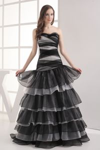 A-line Sweetheart Black Ruffled 5th Grade Graduation Dresses in Springfield