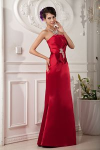 Red Strapless Floor-length Satin Graduation Dress with Beading in Skokie