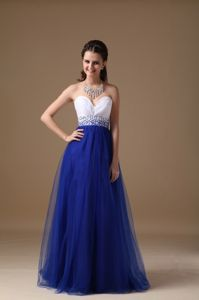 Sweetheart Floor-length Cheap Graduation Dresses in White and Royal Blue