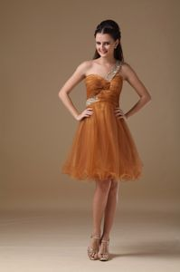 One Shoulder Mini-length Organza Beaded College Graduation Dress in Brown