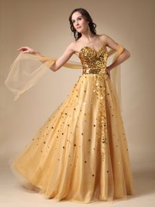 Gold Sweetheart Sequined Tulle 5th Grade Graduation Dresses in Peoria
