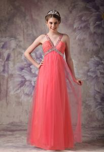 Tulle College Graduation Dresses with Beading in Watermelon Red in Joliet