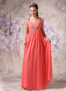 Watermelon Red Chiffon Graduation Dress For Girls with Straps in Chicago