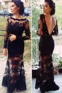 Extravagant Scalloped Long Sleeves Quinceanera Dress Floor Length Lace Black Organza