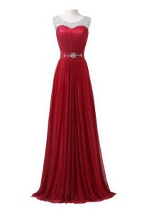 Scoop Wine Red Sleeveless With Train Beading and Ruching Zipper Quinceanera Gown