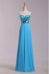 Nice Sleeveless Floor Length Beading and Belt Zipper Sweet 16 Quinceanera Dress with Baby Blue