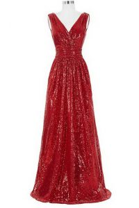 Fashionable Red V-neck Neckline Sequins Sweet 16 Dress Sleeveless Zipper