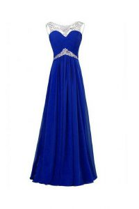 Sleeveless Floor Length Beading Zipper Sweet 16 Dress with Royal Blue
