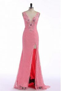 Glamorous Rose Pink 15th Birthday Dress V-neck Sleeveless Sweep Train Backless