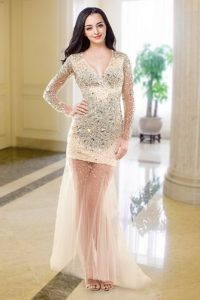 Peach Column/Sheath Beading Ball Gown Prom Dress Zipper Tulle Long Sleeves Floor Length