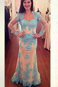 Designer White and Blue Long Sleeves Chiffon Brush Train Zipper 15 Quinceanera Dress for Prom and Party