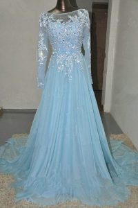 Baby Blue Empire Bateau Long Sleeves Organza Court Train Zipper Appliques and Belt 15th Birthday Dress