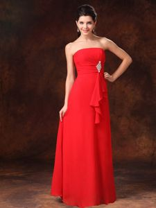 Strapless Red Chiffon Graduation Dresses For Girls with Beading in Evanston