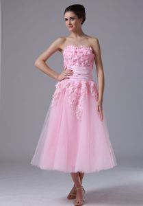 Hand Flowery Sweetheart Pink Senior Graduation Dresses in Northbrook