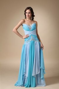 Sweetheart Blue Chiffon Appliqued Grad Dress with Brush Train in Joliet