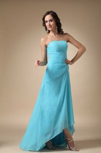 Aqua Blue Strapless Chiffon Middle School Graduation Dresses in Chicago