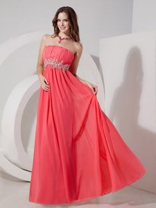 Strapless Beaded Customize Cute Graduation Dresses in Watermelon Red