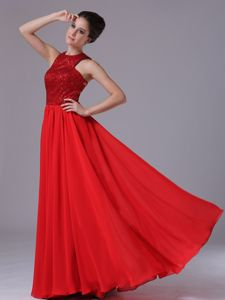 Sequined Chiffon High-Neck Red Affordable Graduation Dresses in Chicago