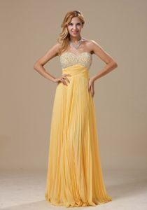 Yellow Beaded Sweetheart Senior Graduation Dress with Pleats in Barrington