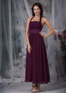 Burgundy Halter Chiffon Junior Graduation Dresses with Ruches in Addison