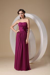 Violet Red Strapless Chiffon Cute Graduation Dresses with Hand Flowers