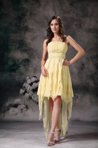 High Low Short Strapless Senior Graduation Dresses in Yellow in Addison