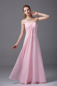 Pink Strapless Chiffon Ruched 5th Grade Graduation Dresses in Lahaina