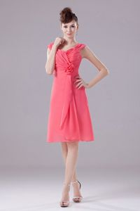 Ruched Hand Flowery Chiffon Graduation Dress in Watermelon Red