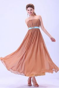 Rust Red Chiffon Ankle-length Graduation Dress with Blue Belt and Ruches