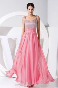 Beaded Ankle-length Graduation Dress in Hot Pink with Straps in Tucker