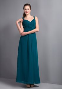 Affordable Turquoise V-neck Ankle-length Cute Graduation Dress in Augusta
