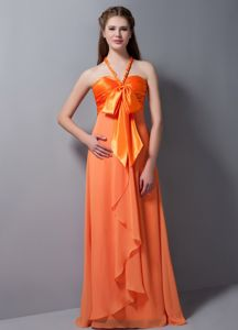 Orange Red Halter Floor-length Cute Graduation Dresses with Ruches