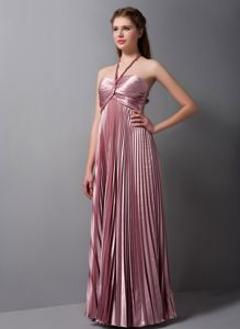 Pink Halter Floor-length Cute Graduation Dresses with Pleats in Albany
