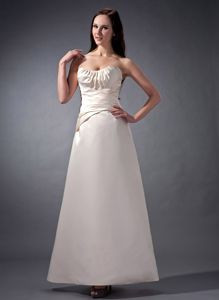 Off White Strapless Satin Ankle-length Senior Graduation Dress with Ruches