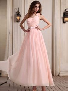 One Shoulder Junior Graduation Dresses with Hand Flower in Baby Pink