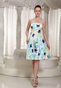 Strapless Knee-Length Elegant Graduation Dresses with Printing in Sanford
