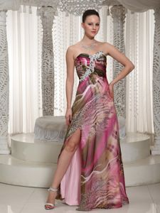 Appliqued Sweetheart Printed Graduation Dresses with High Slit in Tampa