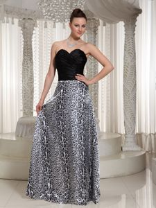 Ruched Sweetheart Leopard Floor-length Sexy Graduation Dresses in Largo