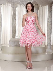 Strapless Beaded Ruched Knee-length Senior Graduation Dress with Printing