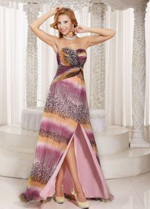 Milti-colored Senior Graduation Dress with High Slit and Watteau Train
