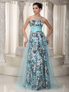 Sweetheart Floor-length Ruched Senior Graduation Dress with Printing