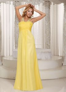 Light Yellow Beaded Ruched Graduation Dresses For Girls in Deerfield Beach