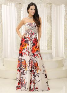 Strapless Beaded Floor-length Prom Dress For Graduation with Printing