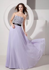 Strapless Chiffon Beaded Lilac Luxurious Graduation Dresses in West Hartford