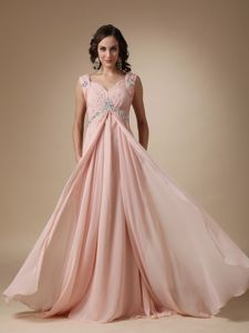 Chiffon Beaded Baby Pink Senior Graduation Dress with Court Train