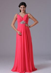 Coral Red V-neck Beaded Ruched Graduation Dress in Norwalk Connecticut