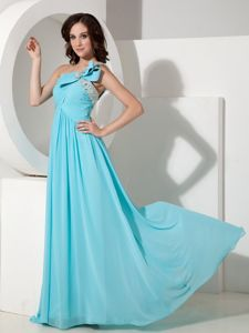 Brush Train One Shoulder Beaded Graduation Dress for Grade 8 in Aqua Blue